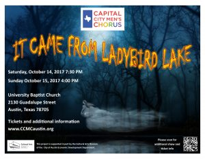 The Capital City Men's Chorus Fall Concert - It Came From Ladybird Lake! October 14th & 15th