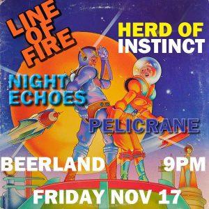 YXSB Rocks Presents Herd of Instinct, Line of Fire & Friends at Beerland Nov. 17