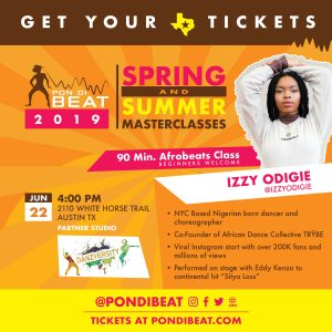 PON DI BEAT: AFROBEATS. IZZY ODIGIE ALL LEVELS DANCE MASTERCLASS