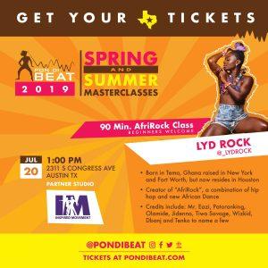 PON DI BEAT: AFRIROCK. LYD ROCK ALL LEVELS AFROBEAT DANCE MASTERCLASS
