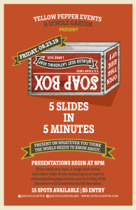 Scholz Garten Presents SoapBox, a Special Evening for Storytellers and Creatives