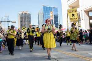 Minor Mishap Marching Band Sidewalk Parade at Givens Park