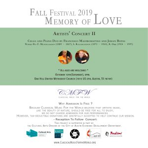 "CMFW Fall Festival 2019: ""Memory of Love"", Artists' Concert II"