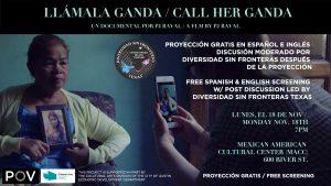Proyección de LLÁMALA GANDA - Documental Premiado para La Semana Transgénero de Resiliación