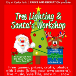 tree lighting and Santa's workshop