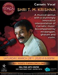 ICMCA presents musical genius Shri T.M. Krishna - Carnatic Vocal