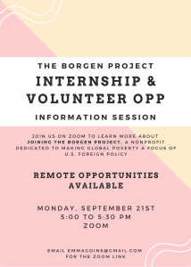 The Borgen Project Internship/Volunteer Opportunity Info Session