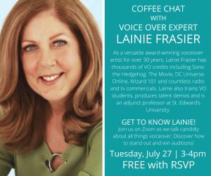 Coffee with Voiceover Expert, Lainie Frasier