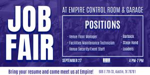 Job Fair at Empire Control Room & Garage 9/27
