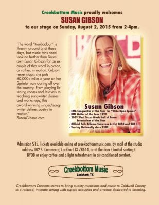 Susan Gibson at Creekbottom Music