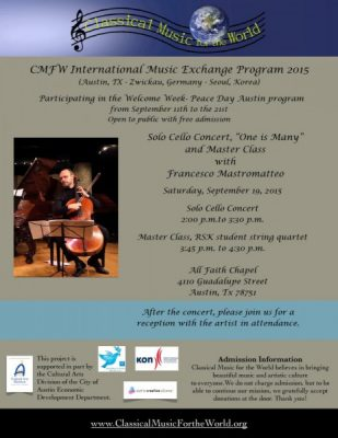 "Solo Cello Concert, ""One is Many"" and Master Class with Francesco Mastromatteo"