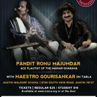 ICMCA presents Flute Virtuoso Pandit Ronu Majumdar accompanied by Maestro Gourisankar on the Tabla