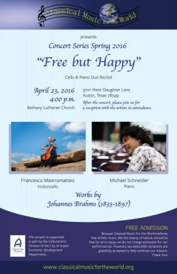 """FreebutHappy"" Piano & Cello CMFW Free Concert"